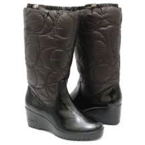 COACH Cantina Winter Wedge Quilted LOGO Boots